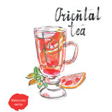 orientalisk tea stock illustrationer