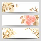 Orientaliska baner för stilvattenfärgvektor stock illustrationer