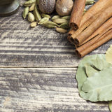 Orientaliska indiska kryddor ryktar curcuma för kardemumma för paprikamuskotnötchili kanelbrun på tappningträ Arkivbild