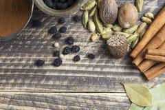 Orientaliska indiska kryddor ryktar curcuma för kardemumma för paprikamuskotnötchili kanelbrun på tappningträ Arkivbilder