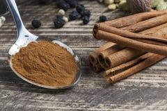 Orientaliska indiska kryddor ryktar curcuma för kardemumma för paprikamuskotnötchili kanelbrun på tappningträ Arkivfoton