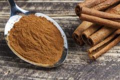Orientaliska indiska kryddor ryktar curcuma för kardemumma för paprikamuskotnötchili kanelbrun på tappningträ Royaltyfri Fotografi