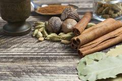 Orientaliska indiska kryddor ryktar curcuma för kardemumma för paprikamuskotnötchili kanelbrun på tappningträ Royaltyfria Foton