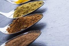 Orientaliska indiska kryddor ryktar paprikamuskotnöt kritiserar på Arkivbilder