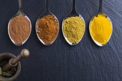 Orientaliska indiska kryddor ryktar paprikamuskotnöt kritiserar på Royaltyfri Bild