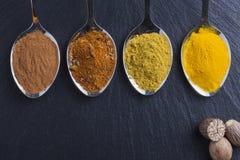 Orientaliska indiska kryddor ryktar paprikamuskotnöt kritiserar på Royaltyfria Bilder