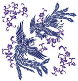 Orientaliska phoenix vektor illustrationer