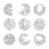 Orientaliskt moln i ramsymbol för rund form japan thai vektor illustrationer