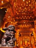 orientaliskt skulpturtempel för lion Arkivbild