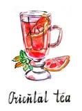 Orientaliskt te för vattenfärg Royaltyfri Illustrationer