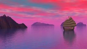 Orientalna dżonka na oceanie zmierzchem - 3D odpłacają się zbiory