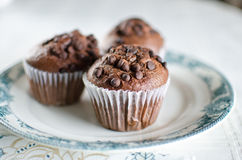 Orientalna herbata z czekoladowymi muffins Fotografia Royalty Free
