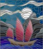 Orientalna rocznik łódź przeciw noc krajobrazowi Zdjęcie Stock
