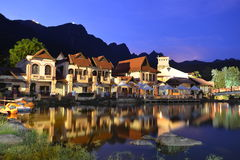 Orientalna wioska przy nocą Zdjęcie Royalty Free