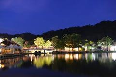 Orientalna wioska przy nocą Obraz Royalty Free