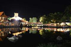 Orientalna wioska przy nocą Zdjęcia Stock