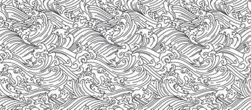 Orientalna Wodnej fali bezszwowa tapeta japo?czycy chi?czyk tajlandzki ilustracja wektor
