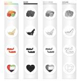 Orientalni cukierki, mapa terytorium, arab Khussa, serce z Arabskimi symbolami Zjednoczone Emiraty Arabskie ustalone inkasowe iko Zdjęcia Stock