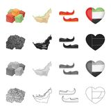 Orientalni cukierki, mapa terytorium, arab Khussa, serce z Arabskimi symbolami Zjednoczone Emiraty Arabskie ustalone inkasowe iko Obrazy Stock