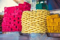 orientalni halva cukierki trzy tradycyjnej rozmaitości Kuala Lumpur, Malezja Zdjęcie Royalty Free