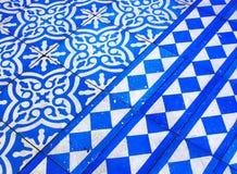 Orientalny Błękitny i Biały wzór Zdjęcia Stock