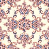 Orientalny kwiecisty Bezszwowy wzór Kwiatów geometryczni ornamentacyjni półdupki ilustracji