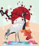 Orientalny obrazek z żurawiem i koi Zdjęcie Stock