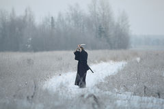 Orientalny sztuka samoobrony wojownik przy zimy szkoleniem Fotografia Stock