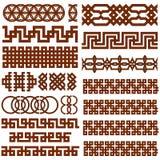 17 Orientalnych Geometrical Bezszwowych granic Obrazy Royalty Free