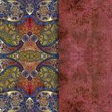 Orientalt仿造了与金黄喷洒的织地不很细背景 库存照片