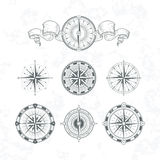 Orientation antique compas in vintage style. Vector monochrome illustrations set Stock Photography