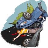 orientation cassée par accident de gestionnaire de véhicule près de l'avertissement r3fléchissant de gilet de triangle de sécurit Photo libre de droits