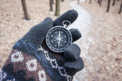 Orientation. A compass is an instrument used for navigation and orientation that shows direction relative to the geographic cardinal directions, or points Royalty Free Stock Photo