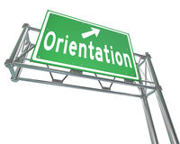 Orientation Green Freeway Sign New Recruit Student Employee. The word Orientation on a green freeway direction sign to point the way for new students or Stock Photography