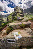 Orientation in mountains in summer with map and compass, Poland Stock Image