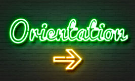 Orientation neon sign on brick wall background. Orientation neon sign on brick wall background Royalty Free Stock Images