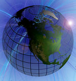 Orientation normale de l'Amérique du Nord de couleur de globe sur le fond de remous Photographie stock libre de droits