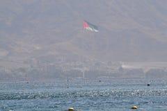 Oriente Medio, Israel, mar, Mar Rojo, Eilat, bandera, MES Fotos de archivo libres de regalías