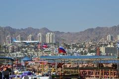 Oriente Medio, Israel, mar, Mar Rojo, Eilat, bandera, MES Imagen de archivo