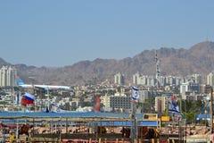 Oriente Medio, Israel, mar, Mar Rojo, Eilat, bandera, MES Foto de archivo libre de regalías
