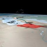 Oriente Medio según lo visto del espacio, Siria Foto de archivo