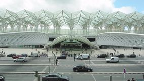 Oriente railway and metro station stock footage