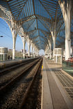 Oriente Station with train detail Royalty Free Stock Photo