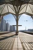 Oriente Station with train detail Stock Photo