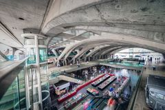 Oriente Train Station Interior in Lisbon, Portugal. Oriente Train Station Interior in Lisbon in Portugal Stock Photo