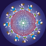 Orienteering. Children run around the maze. Symbol for orienteering, for the orientation Royalty Free Stock Image