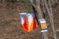Orienteering. Check point Prism and electronic composter for orienteering close-up. Navigation equipment. The concept.  stock photos