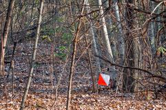 Orienteering. Check point Prism for orienteering. Navigation equipment. The concept stock photos