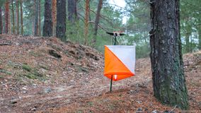 Orienteering. Control point Prism and composter for orienteering in the autumn forest. The concept.  Royalty Free Stock Images