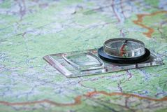 Orienteering with map and compass. royalty free stock images